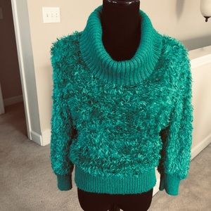 80's Vintage green cowl neck Sweater
